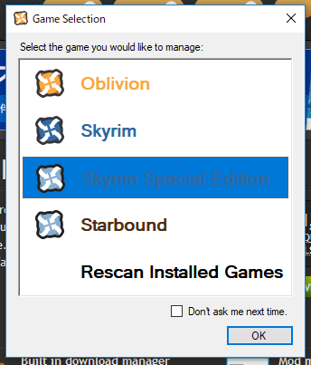 Game Selection window