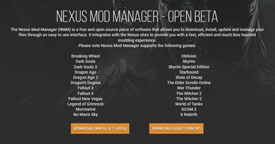 Nexus Mod Manager Skyrim Special Edition