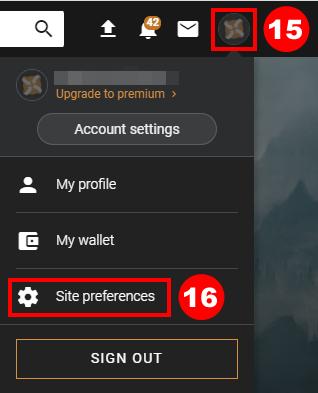 アイコンをクリックし「Site preferences」をクリック